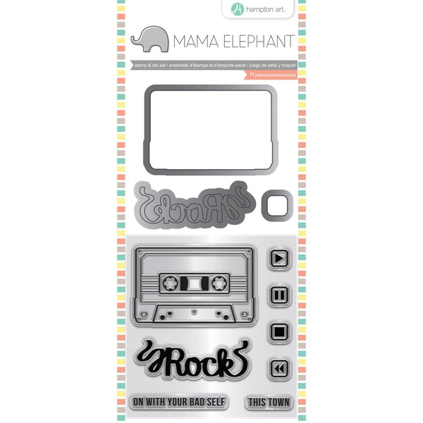 "Mama Elephant Stamp & Die Set 4""X8"", Mix Tape"