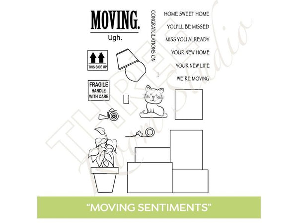 "Three Room Studio, ""Moving Sentiments"" Clear Stamp Set"