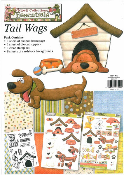 Nitwit Tail Wags Kit 1, Clear Stamps Set and Decoupage/Die Cut Toppers & Cardstock - Scrapbooking Fairies
