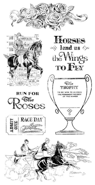 Graphic 45/Hampton Art, Off to the Races 2, Cling Stamps