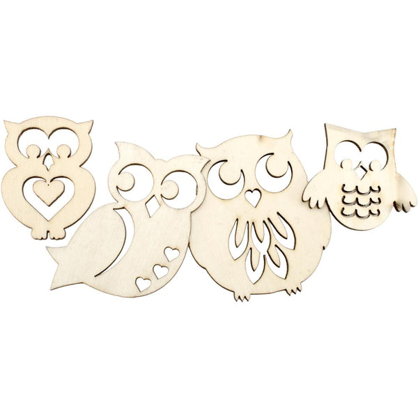 Lara's Crafts, Assorted Wood Shapes, Owl Pairs 8/Pkg