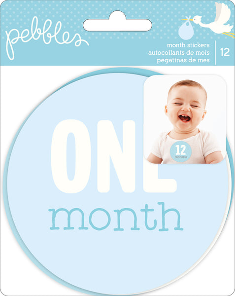 Pebbles, LULLABY FIRST YEAR AGE STICKERS 12/PKG (Baby Boy)