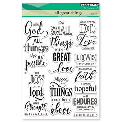 Penny Black, All Great Things, Clear Stamps Set