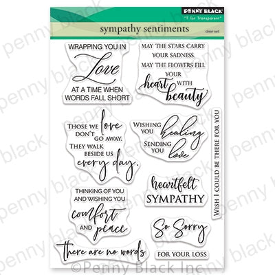 Penny Black Clear Stamps, Sympathy Sentiments, 5 x 6.5""