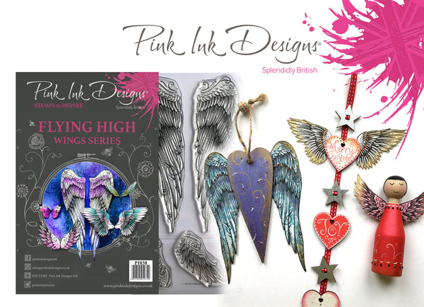 Pink Ink Designs A5 Clear Stamp, Flying High, Wings Series