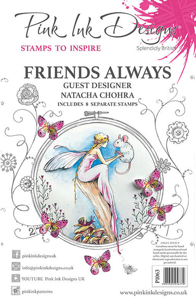 Pink Ink Designs A5 Clear Stamp, Friends Always, Fairy & Mouse by Natacha Chohra