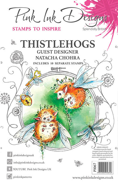 Pink Ink Designs A5 Clear Stamp, Thistlehogs by Natacha Chohra