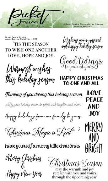 "Picket Fence Studios 4""X6"" Stamp Set, Inside Quotes: Christmas"