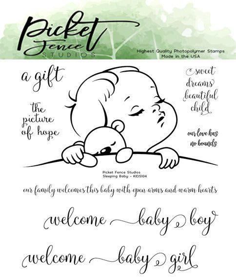 "Picket Fence Studios 4""X4"" Clear Stamp Set, Sleeping Baby"