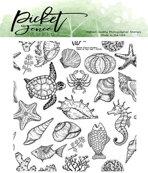 "Picket Fence Studios 4""X4"" Clear Stamp Set, View of the Sea"