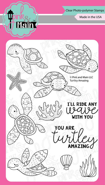 Pink & Main, Clear Photopolymer Stamps, Turtley Amazing