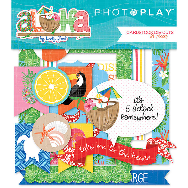 Photo Play, Aloha Cardstock Die-Cuts 34/Pkg