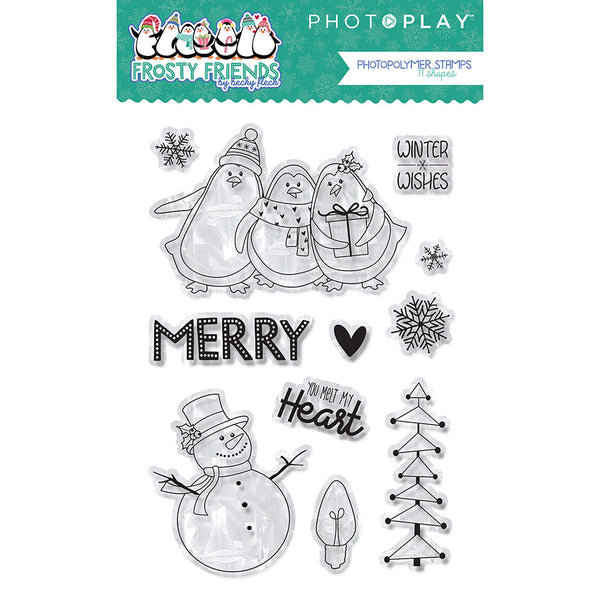 Photo Play Photopolymer Stamp & Etched Thinlits Dies Combo, Frosty Friends