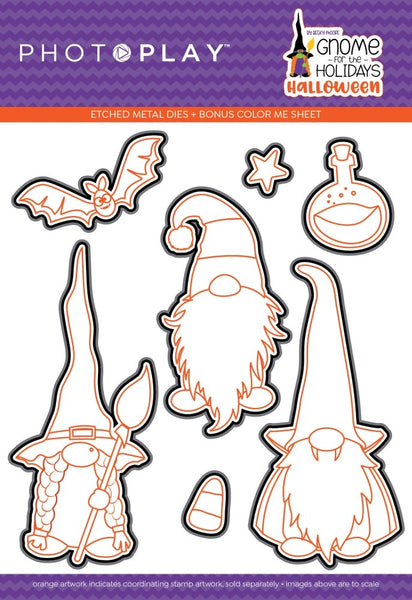 PhotoPlay Photopolymer Stamp & Etched Die Combo, Gnome For Halloween