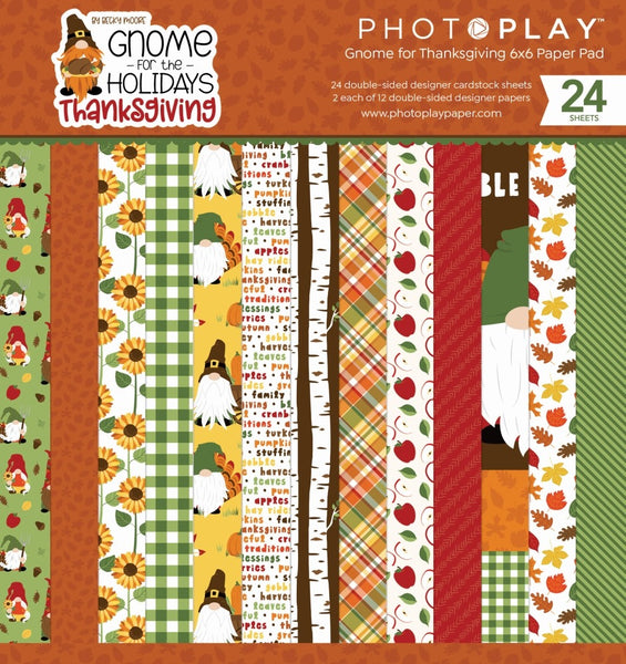 "PhotoPlay Double-Sided Paper Pad 6""X6"" 24/Pkg, Gnome For Thanksgiving"