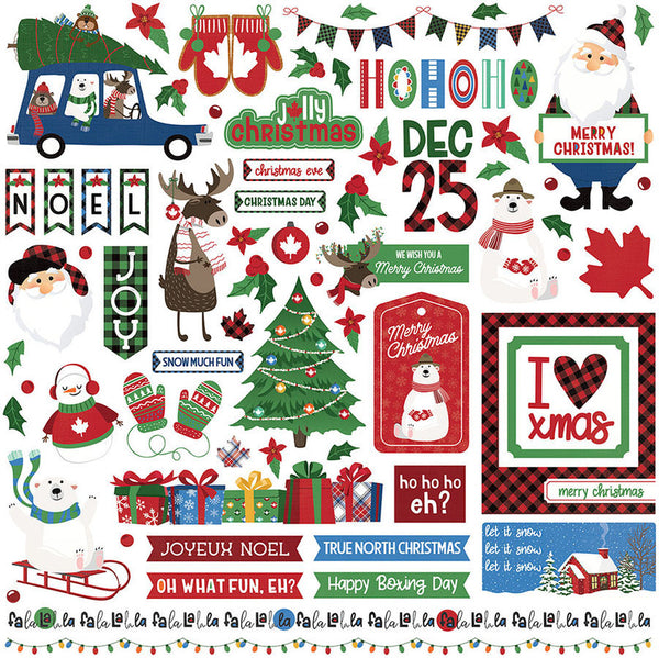 "O Canada Christmas, Stickers 12""X12"", Elements"