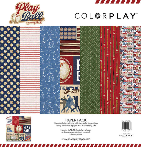"ColorPlay Collection Pack 12""X12"", Play Ball, 6 Designs/2 Each + Bonus"