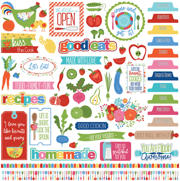 "Photo Play, What's Cooking Stickers 12""X12"", Elements"