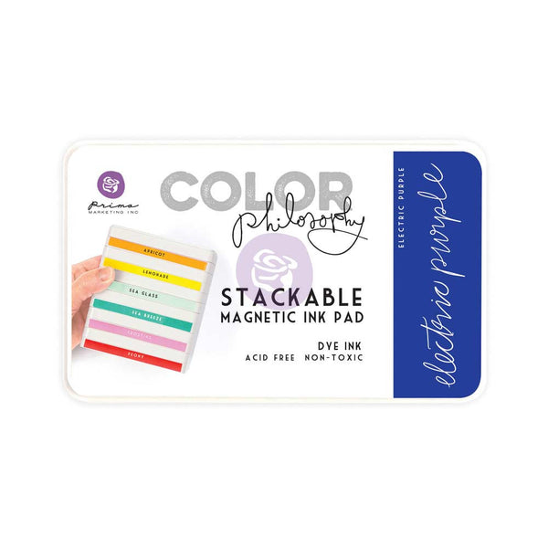 Prima, Magnetic and Stackable Ink Pad, Electric Purple