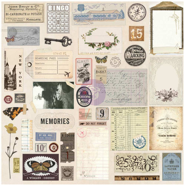 Prima Traveler's Journal Embellishments - Vintage Ephemera And Sticker Sheet - Scrapbooking Fairies