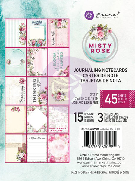 "Prima, Misty Rose Journaling Cards Pad 3""X4"" 45/Pkg, 15 Designs/3 Each"