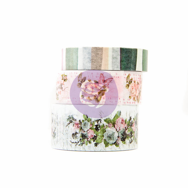 Prima Marketing, Poetic Rose Decorative Tape 3/Pkg 10mm To 20mm, 10 Yards Each