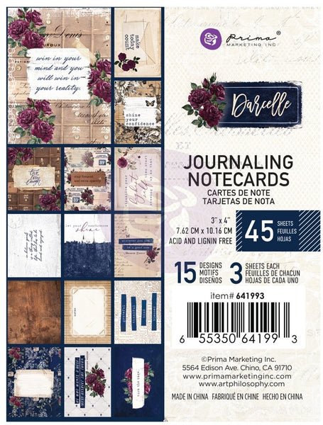 "Prima, Darcelle Journaling Cards 3""X4"" 45/Pkg, 15 Designs/3 Each"