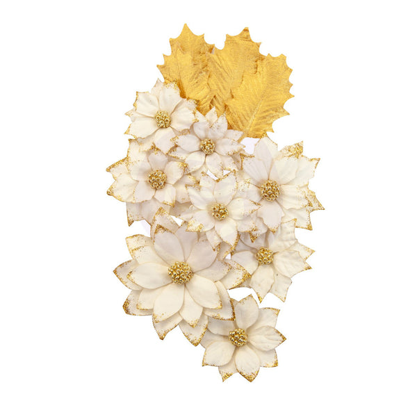 Prima Marketing Mulberry Paper Flowers, White Christmas/Christmas In The Country