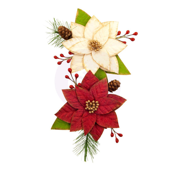 Prima Marketing Mulberry Paper Flowers, Sleigh Ride/Christmas In The Country