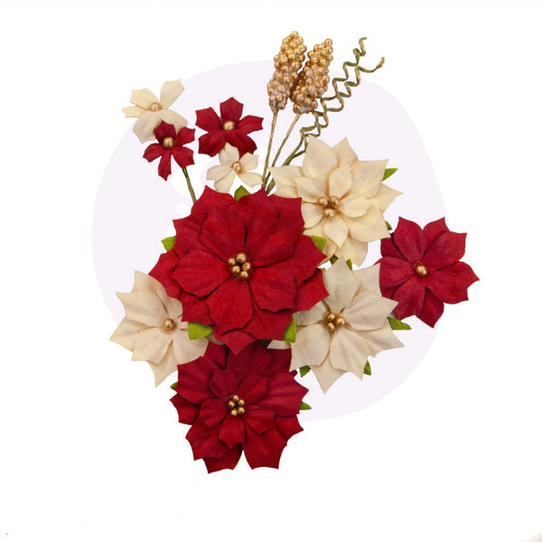 Prima Marketing Mulberry Paper Flowers, Joyful/Christmas In The Country