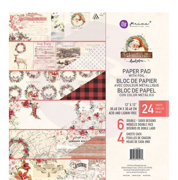 "Prima Marketing Double-Sided Paper Pad 12""X12"" 24/Pkg, Christmas In The Country, 6 Designs/4 Each"