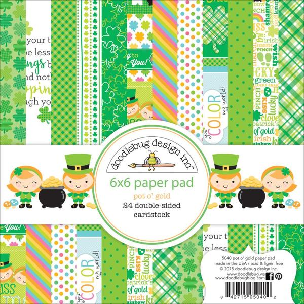 "Doodlebug Double-Sided Paper Pad 6""X6"" 24/Pkg, Pot O'gold, 12 Designs/2 Each"