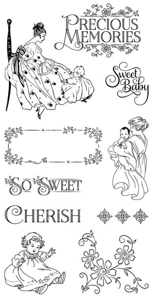 Graphic 45/Hampton Art, Precious Memories 1, Cling Stamps