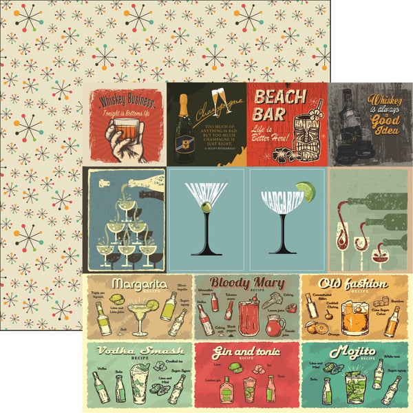 "Happy Hour Double-Sided Cardstock 12""X12"", Cocktails & Dreams"