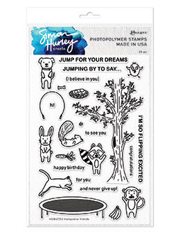 "Simon Hurley create. Cling Stamps 6""X9"", Trampoline Friends"