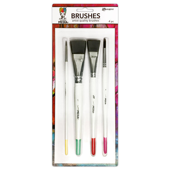 Ranger - Dina Wakley, Media Brushes, 4-pk - Scrapbooking Fairies