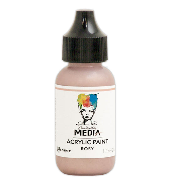 Ranger, Dina Wakley, Acrylic Paint, Heavy Body, Rosy (1 oz. Bottle)