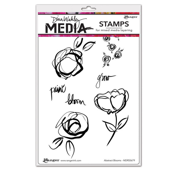 Ranger, Dina Wakley, Cling Stamp, Abstract Blooms
