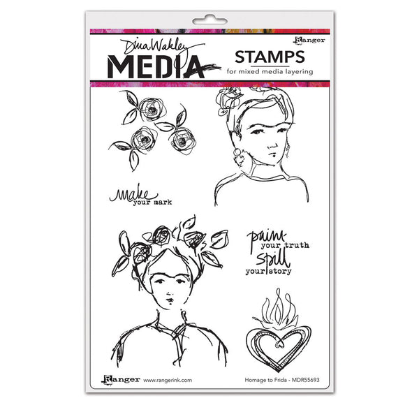 Ranger, Dina Wakley, Cling Stamp, Homage To Frida - Scrapbooking Fairies