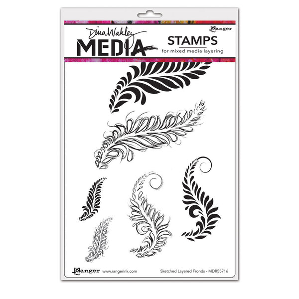 Ranger - Dina Wakley, Sketched Layered Fronds, Cling Stamps - Scrapbooking Fairies
