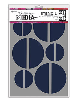 "Dina Wakley Media Stencils 9""X6"", Large Halves"
