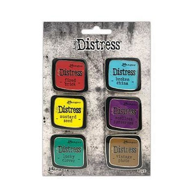 Tim Holtz Distress Enamel Collector Pin Set 6/Pkg, Set 2
