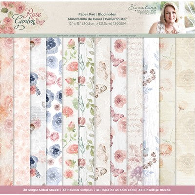 "Signature Collection by Sara Davies, 12""x12"" Paper Pad, 180 GSM, Rose Garden"