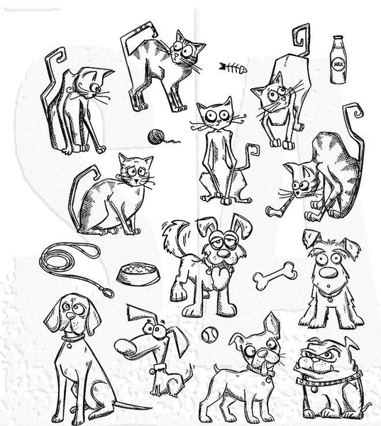 Stampers Anonymous Tim Holtz, Cling Stamp, Mini Cats & Dogs