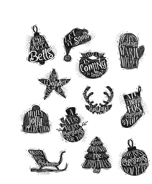 Stampers Annoymous, Cling Stamp, Mini Carved Christmas - Scrapbooking Fairies