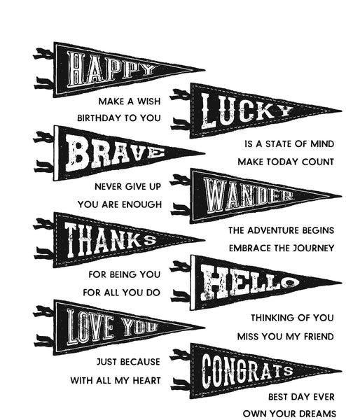 "Stampers Anonymous - Tim Holtz, Cling Stamps 7""X8.5"", Pennants - Scrapbooking Fairies"