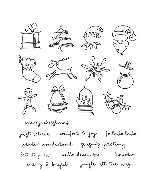 "Ranger, Tim Holtz Cling Stamps 7""X8.5"", December Doodles"
