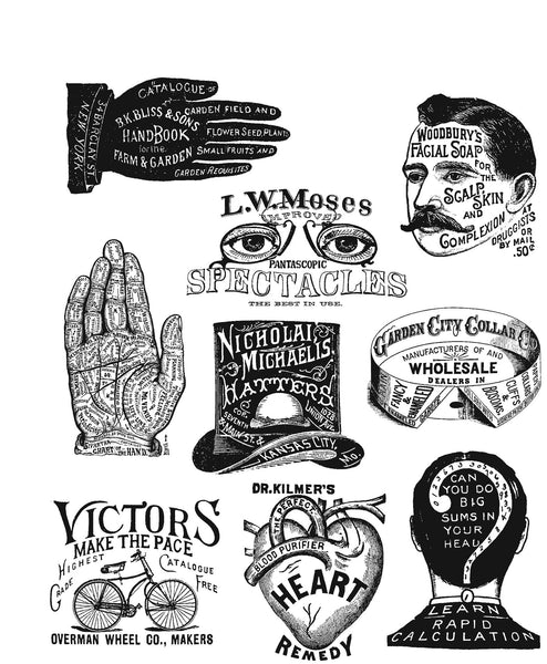 "Tim Holtz Cling Stamps 7""X8.5"", Eclectic Adverts"