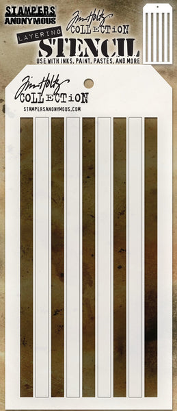 "Tim Holtz Layered Stencil 4.125""X8.5"", Shifter Stripes"