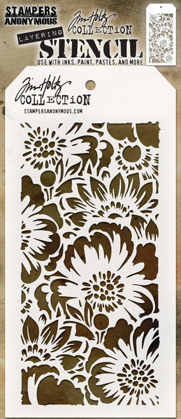 "Tim Holtz, Layered Stencil 4.125""X8.5"", Bouquet -Layered"